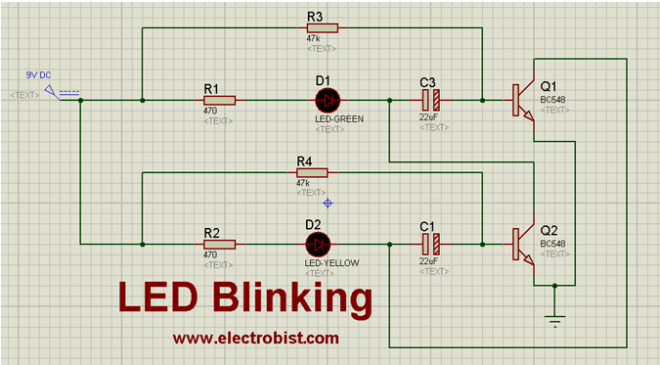 LED Blinking with couple of capacitors and transistors - ELECTROBIST