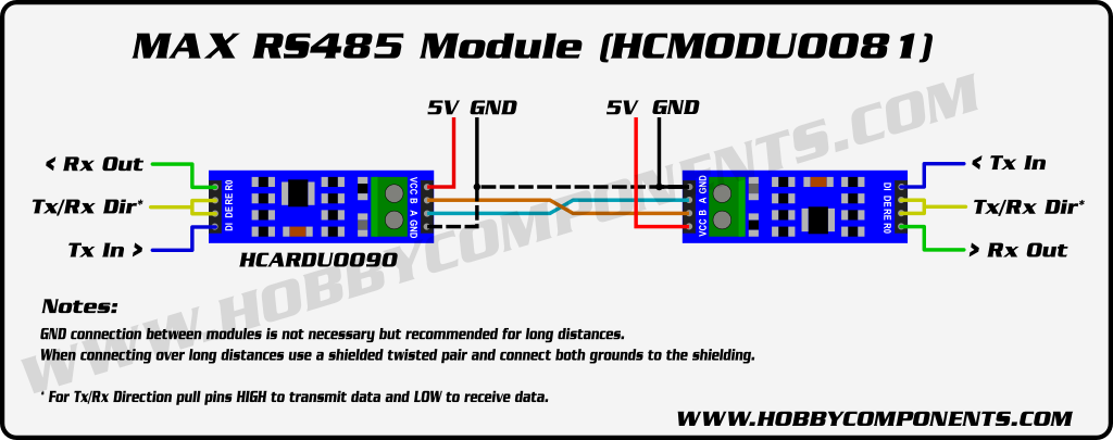 Max485 Based Ttl To Rs485 Transceiver Module